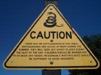 a rattlesnake warning sign