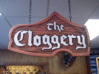 sign in a shoe store demarcating 'The Cloggery'