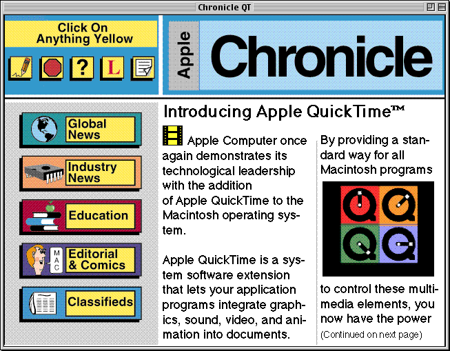 "front page of the Apple Chronicle, showing the first part of the article ""Introducing Apple QuickTime™"""