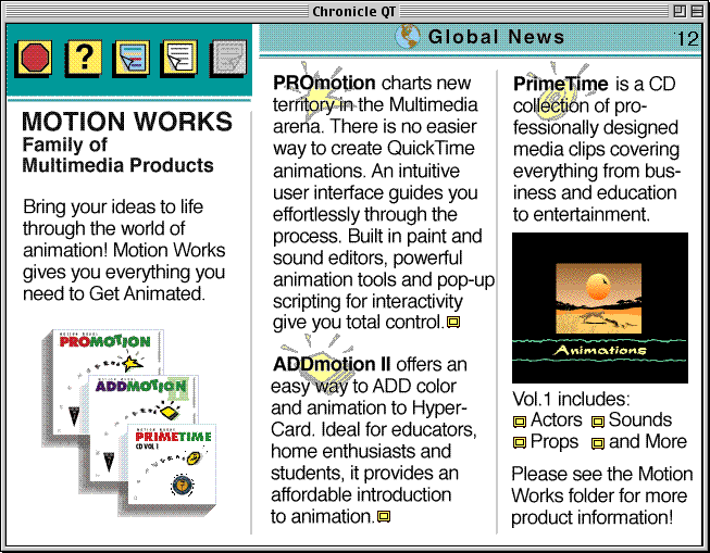"page 12 of the Apple Chronicle, showing the advertisement ""MOOTION WORKS Family of Multimedia Products"""