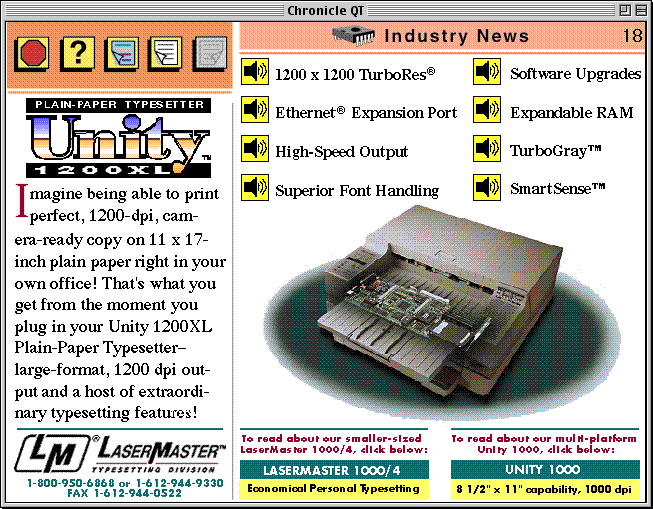 page 18 of the Apple Chronicle, showing an advertisement for the LaserMaster Unity 1200XL printer