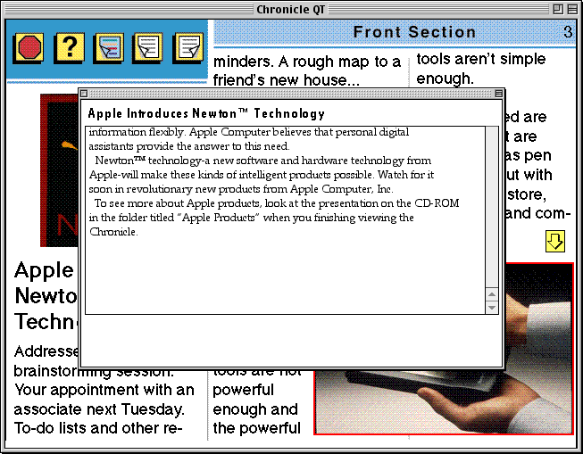 "the rest of the text of the ""Apple Introduces Newton™ Technology"" article, displayed in a popup window"