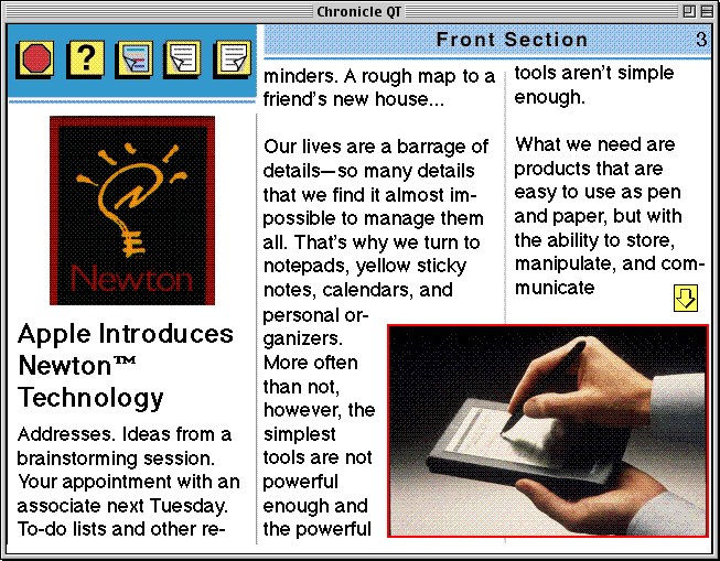 "page 3 of the Apple Chronicle, showing the first part of the article ""Apple Introduces Newton™ Technology"""