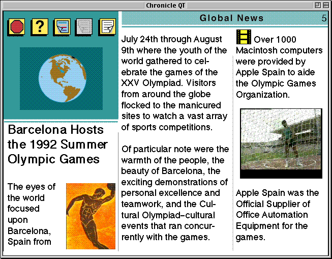 "page 5 of the Apple Chronicle, the front page of the Global News section, showing the article ""Barcelona Hosts the 1992 Summer Olympic Games"""