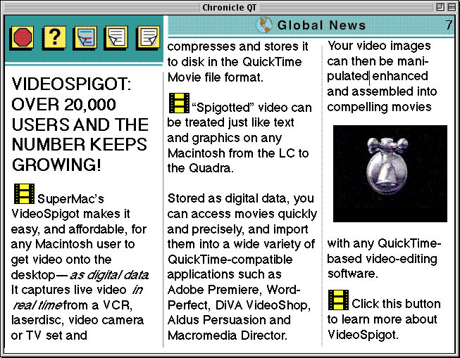 "page 7 of the Apple Chronicle, showing the advertisement article ""VIDEOSPIGOT: OVER 20,000 USERS AND THE NUMBER KEEPS GROWING!"""