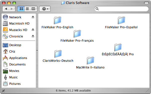 directory of Claris demo applications, showing the different apps available for different languages