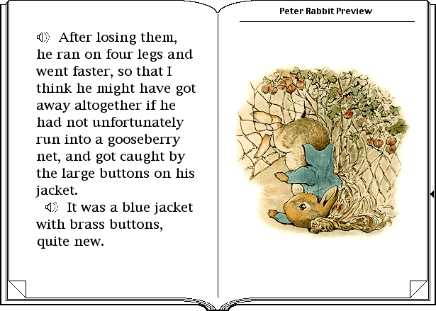 two pages from the Peter Rabbit Preview from Discis Books, showing two sentences and an accompanying illustration