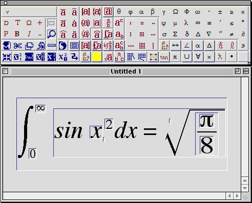 an example equation entered in Expressionist: the integral from zero to infinity of the sine of x squared is equal to the square root of pi divided by eight
