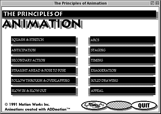 main menu from The Principles of Animation, listing the techniques covered: squash & stretch, anticipation, secondary action, straight ahead & pose to pose, follow through & overlapping, slow in & slow out, arcs, staging, timing, exaggeration, solid drawing, and appeal