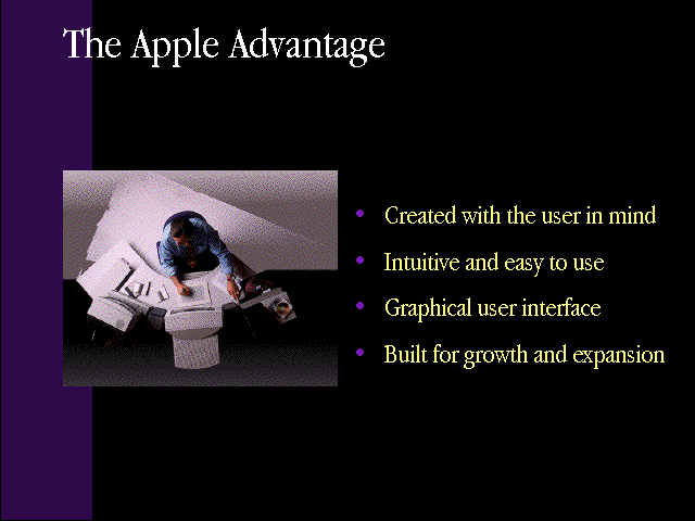"slide 5 of the ""Products by Apple"" presentation, describing The Apple Advantage: created with the user in mind, intuitive and easy to use, graphical user interface, and built for growth and expansion"