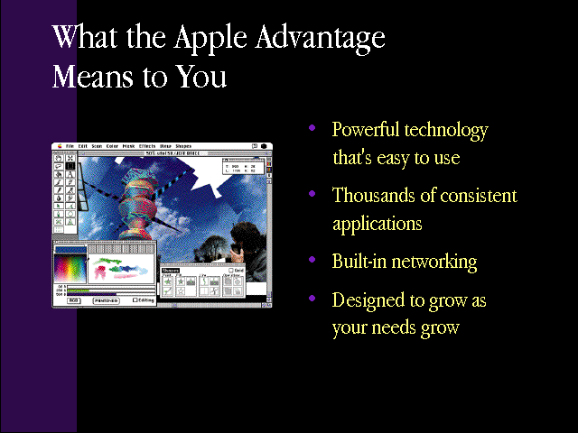 "slide 9 of the ""Products by Apple"" presentation, describing What the Apple Advantage Means to You: powerful technology that's easy to use, thousands of consistent applications, built-in networking, and designed to grow as your needs grow"