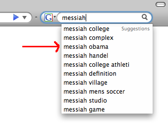 "Google's search suggestions for ""messiah,"" with the third one highlighted: ""messiah obama"""