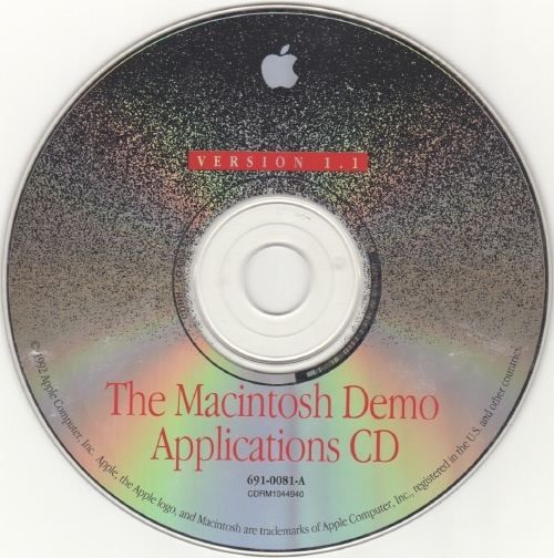 The Macintosh Demo Applications CD Version 1.1 disc