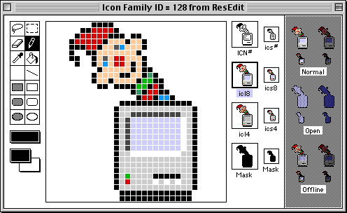 ResEdit's Finder icons open in ResEdit's icon editor