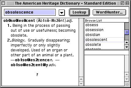 a window from The American Heritage Dictionary - Standard Edition, showing the definition of the word 'obsolescent'