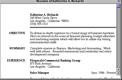 a window from ResuméWriter, showing the sample resume of 'Katherine A. Richards'