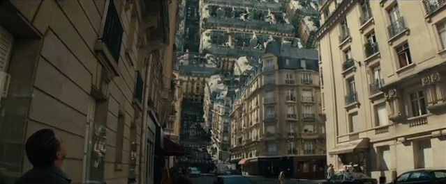 0:44 from the Inception trailer, showing a city curling up on itself