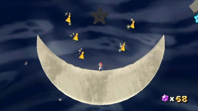 Mario on the curved inner surface of the crescent moon, which is revealed to be two-dimensional.
