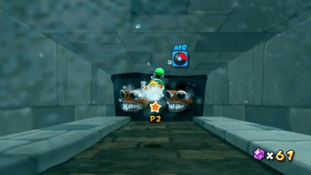 Luigi in the carved passageway with only 25% air remaining.