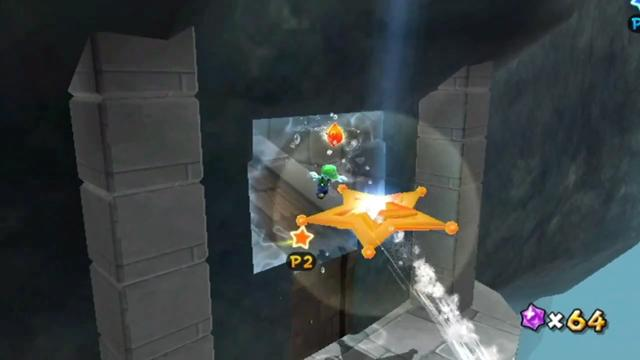 Luigi landing in the Launch Star at the end of the carved passageway.