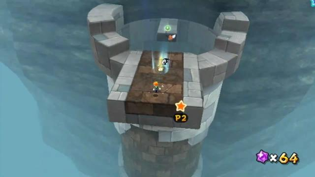 Luigi landing on a stone ledge at the top of a tower. This is the level's checkpoint.