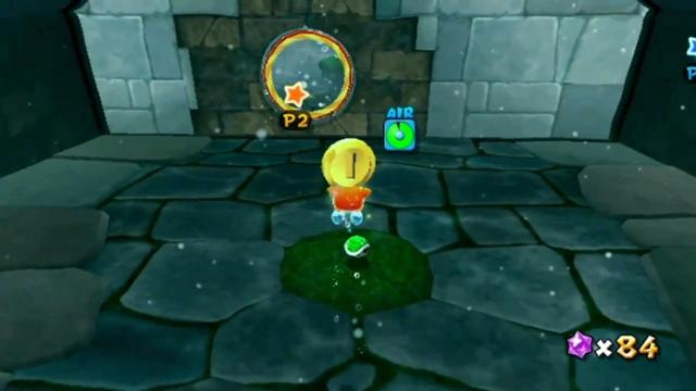 Luigi in a stone-walled room, where a coin and a Koopa shell are visible.