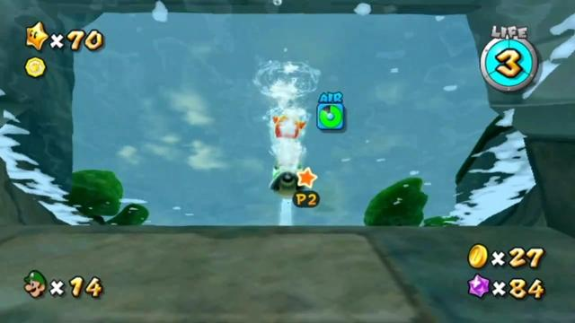 Luigi has reached the top of the passage. The camera is still underwater but has tilted down, revealing the tops of trees.