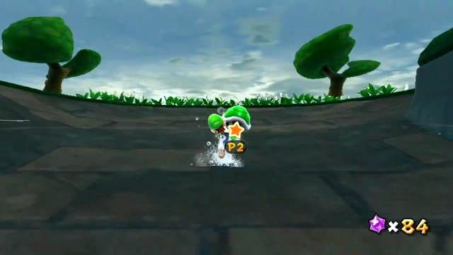 Luigi out of the water and running up a slope.