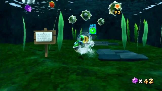 Luigi underwater with a Koopa shell.