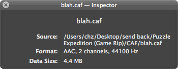 screenshot of the inspector for blah.caf, showing Format: AAC, 2 channels, 44100 Hz